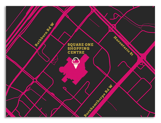 Map of Bake Three Fifty food truck Newmarket location in Upper Canada Mall